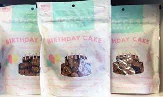 Birthday Cake Biscuits bags on shelf at store