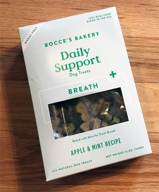 Bocce's Bakery Breath Biscuits box on floor