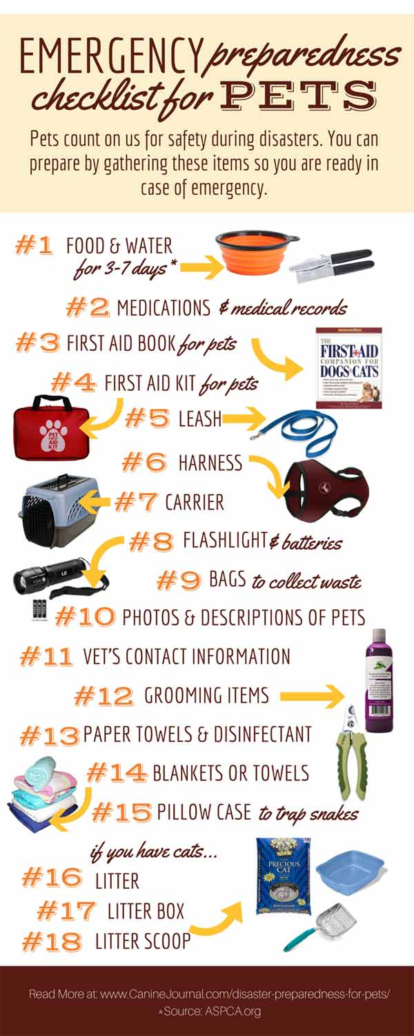 Emergency Preparedness Checklist for Pets Infographic