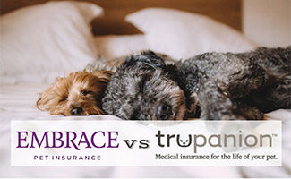 Two dogs laying on bed (caption: Embrace vs Trupanion)