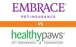 Embrace vs Healthy Paws logos