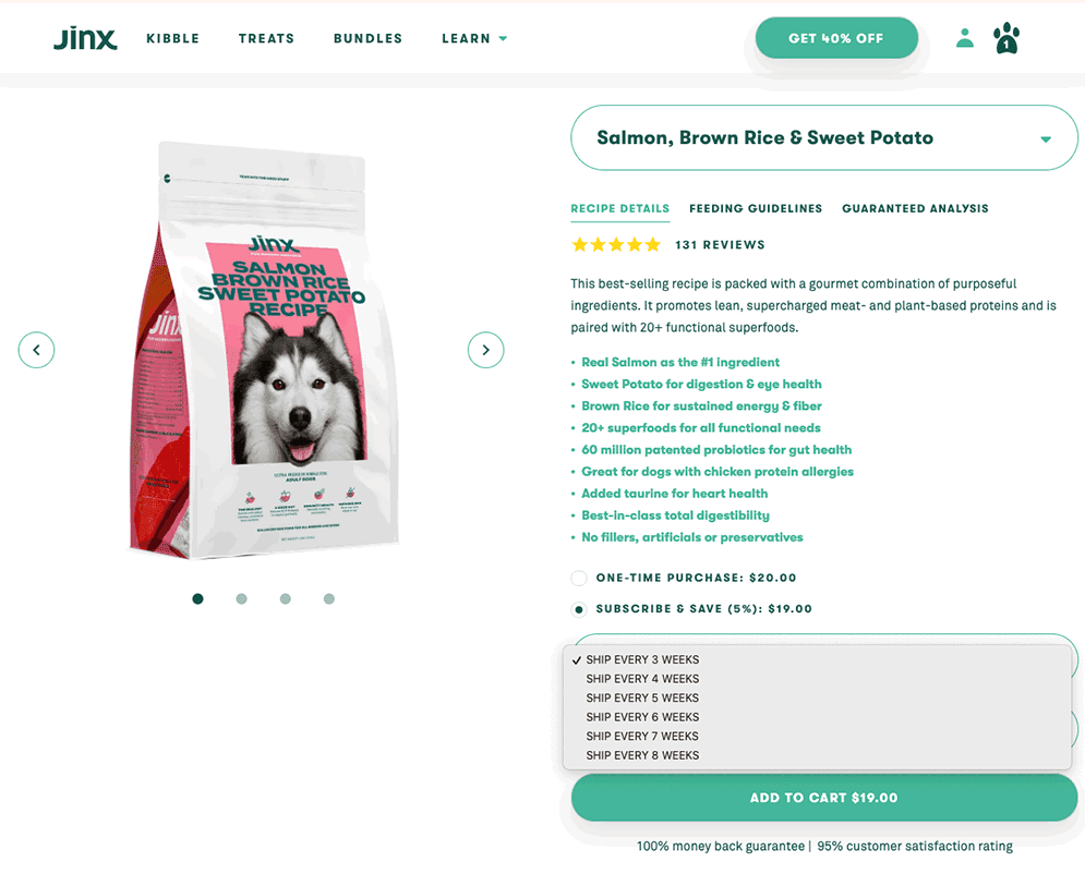 Jinx Salmon Dog Food Delivery Order Page on Website