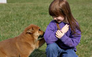 Little girl with dog in grass