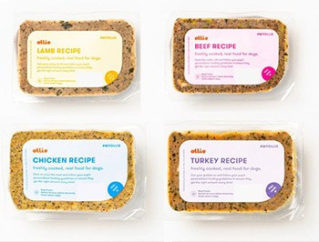 Ollie four flavors of dog food packages