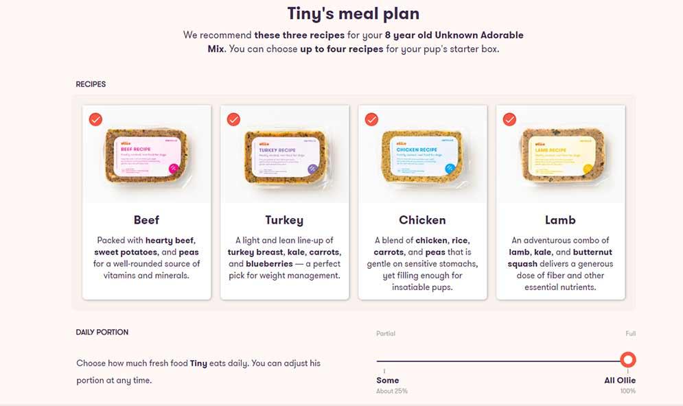 Ollie ordering process screenshot pick a plan
