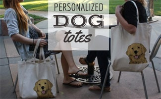 Girls with dog tote bags