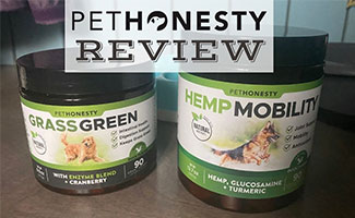 2 jars of PetHonesty products - Hemp Mobility and Grass Green (caption: PetHonesty Review)