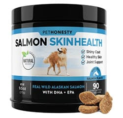 PetHonesty Salmon Skin Health container with chews