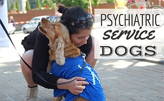 Girl hugging a Psychiatric Service Dog (caption: Psychiatric Service Dogs)