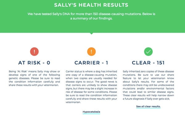 Sally's Health Results screenshot