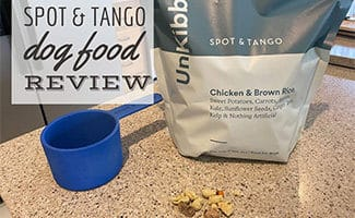 Spot & Tango food on counter with scoop (caption: Spot & Tango Review)