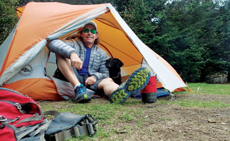 Tennille Service Dog in tent