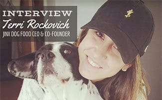 Terri and dog Jinx (caption: Terri Rockovich, CEO & Co-Founder Of Jinx Dog Food Interview)