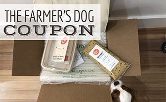 Dog sniffing box of The Farmer's Dog (caption: The Farmer's Dog Coupon)
