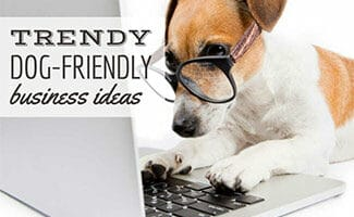 A Jack Russell Terrier wearing glasses and pretending to type on a laptop computer (Caption: Trendy Dog-Friendly Business Ideas).