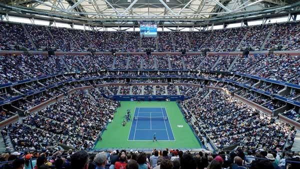 US Open Tennis in Arthur Ashe Stadium